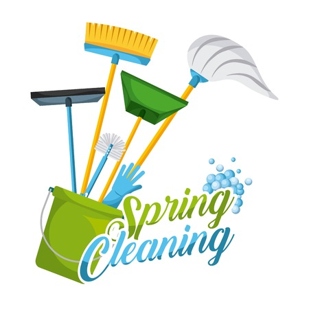 Tarjeta de limpieza de primavera y equipos de limpieza de equipos domésticos ilustración vectorial Foto de archivo - 94106408
