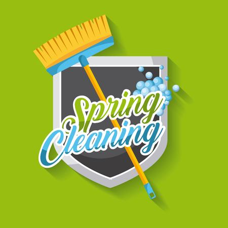 spring cleaning poster with broom shield emblem clean bubbles vector illustration