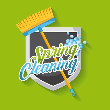 lente schoonmaak poster met bezem schild embleem schone bubbels vector illustratie