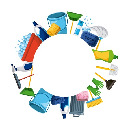spring cleaning supplies round frame tools of housecleaning background vector illustration Иллюстрация