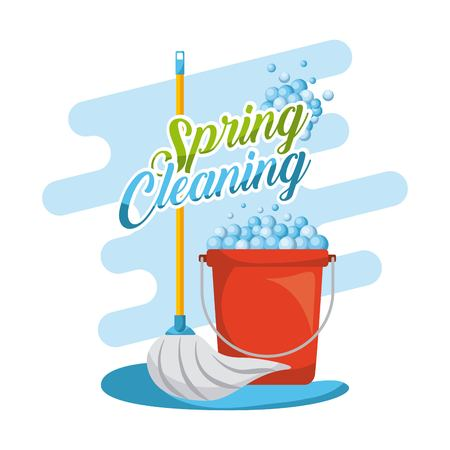 spring cleaning set mop red plastic bucket with foam vector illustration