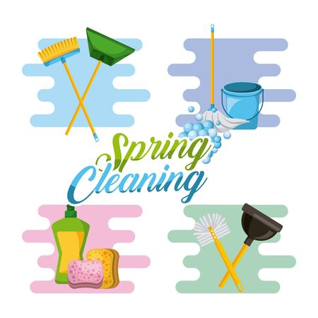 spring cleaning service tools for cleanliness and disinfection vector illustration Ilustrace