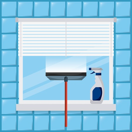 cleaning window tool squeegee spray bottle vector illustration Illustration