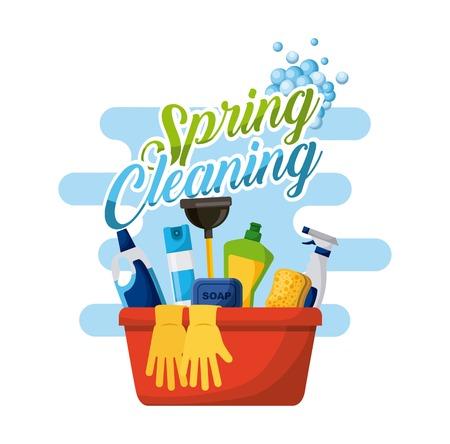 lente schoonmaak poster met emmer fles spray en handschoenen vector illustratie