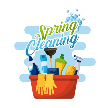 spring cleaning poster with bucket bottle spray and gloves vector illustration Illustration
