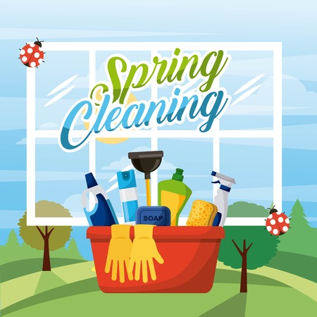 spring cleaning bucket equipment with window and landscape background vector illustration Çizim