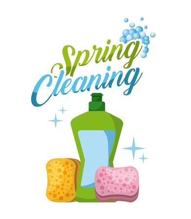 spring cleaning plastic bottle sponge bubbles vector illustration Иллюстрация