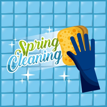 spring cleaning blue glove with sponge wash the wall tiles vector illustration
