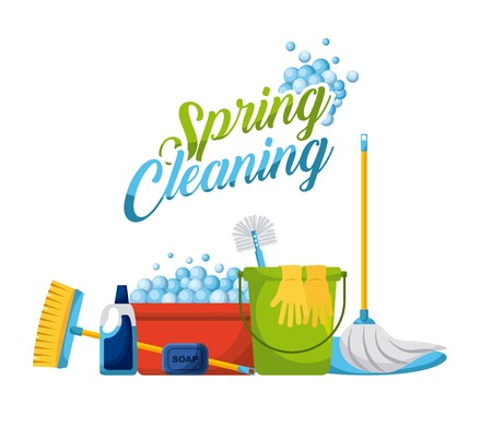 spring cleaning products and accessories icons vector illustration