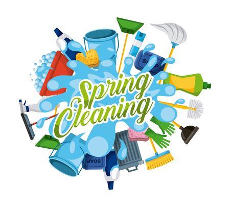 spring cleaning water splash work supplies vector illustration