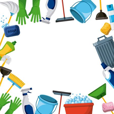 spring cleaning supplies border tools of housecleaning background vector illustration