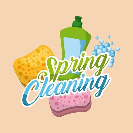 spring cleaning green plastic bottle and sponge bubbles vector illustration Ilustração