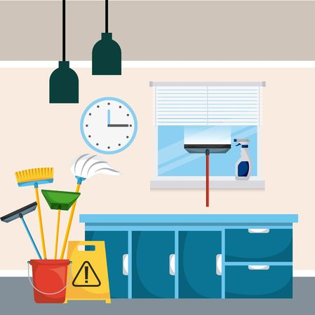 cleaning room cabinet drawers window clock bucket tools vector illustration