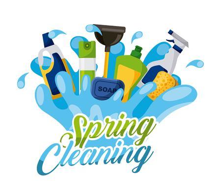 Spring cleaning splash soap air freshener spray sponge vector illustration. Illustration