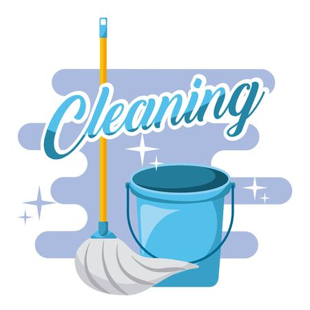 Cleaning blue bucket and mop tools vector illustration. Çizim