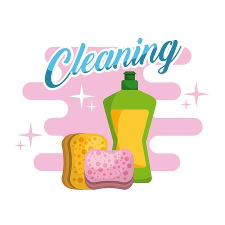 Cleaning plastic bottle sponge products vector illustration. Иллюстрация