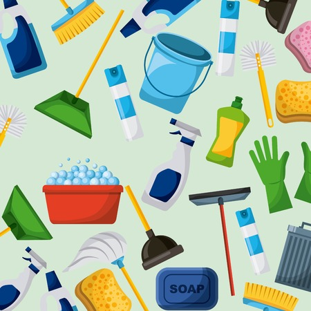 Cleaning equipment tools set icons vector illustration. Illustration