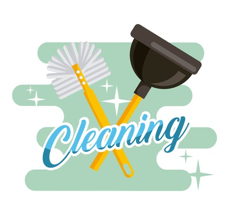 Cleaning toilet brush and plunger supplies vector illustration.