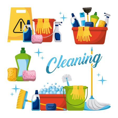 Cleaning elements set with brooms bucket mop spray plunger brush sponge vector illustration.