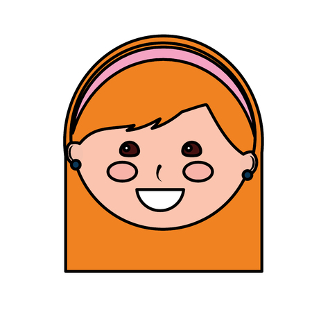 Happy girl with headband kid child icon image vector illustration design