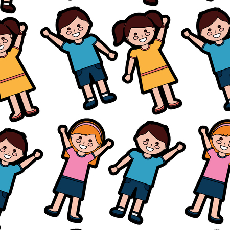 Happy kids children pattern image vector illustration design
