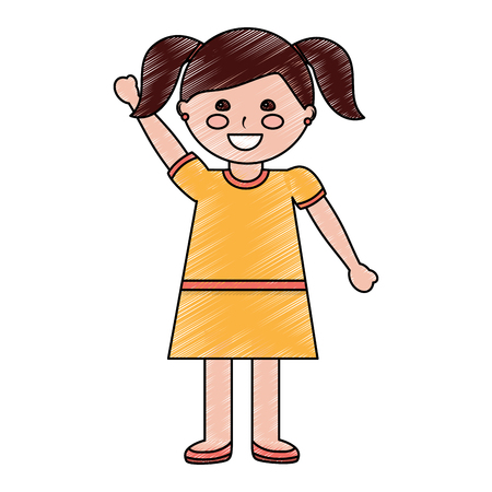Happy girl with pigtails hair style icon image vector illustration design