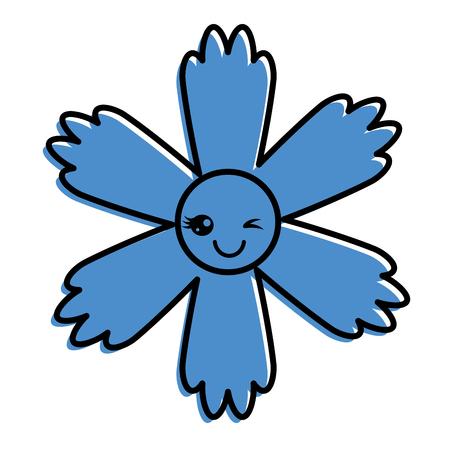 귀여운 푸른 꽃 카와이 만화 벡터 일러스트 레이션