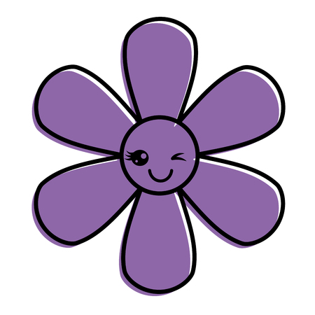 purpleflower kawaii cartoon botanical icon vector illustration