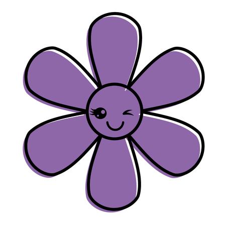 purpleflower kawaii cartoon botanical icon vector illustration