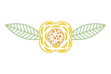 꽃과 나뭇잎 지점 자연 벡터 일러스트 레이 션 컬러 라인 디자인