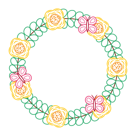 beautiful floral wreath with spring flowers leaves vector illustration color line design