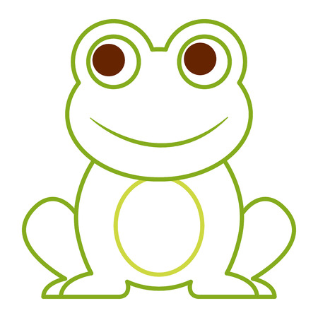 Frog cute animal sitting cartoon vector illustration color line design
