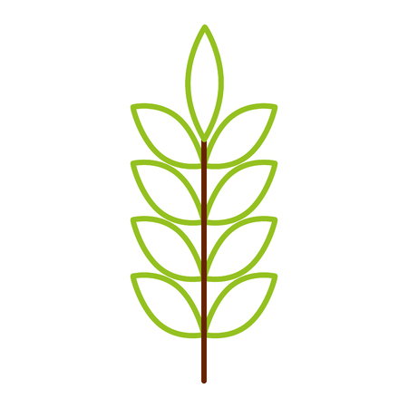 녹색 잎 봄 분기 자연 벡터 일러스트 컬러 라인 디자인
