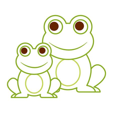 żaby słodkie zwierzę siedzi kreskówka wektor ilustracja kolor linii projektowania