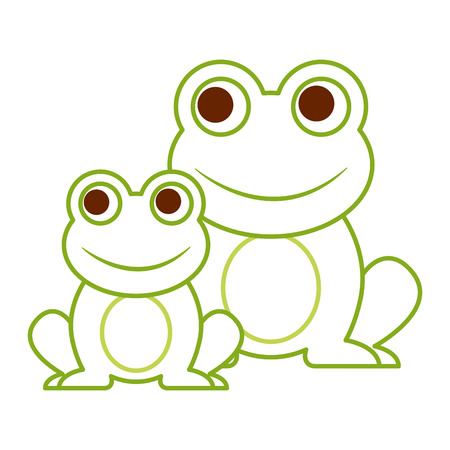 frogs cute animal sitting cartoon vector illustration color line design Stock Vector - 94131440