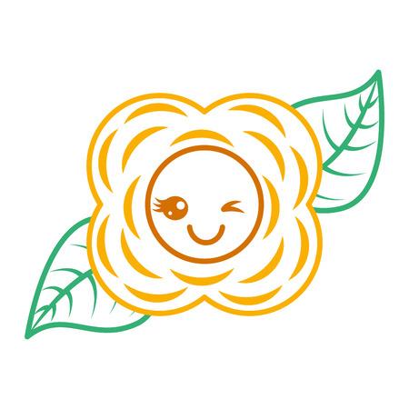 yellow flower cartoon natural vector illustration Stok Fotoğraf - 94115334