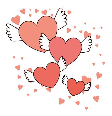 happy valentines day red hearts with wings  love symbol vector illustration graphic design Illustration