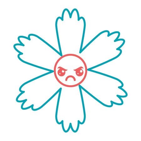 cute blue flower cartoon vector illustration