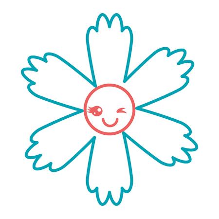 illustrazione vettoriale carino cartone animato fiore blu