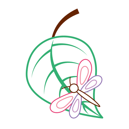green leaf with butterfly nature vector illustration color line design
