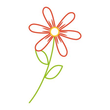 flower stem leaves nature petals decoration vector illustration color line design