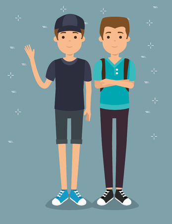 two handsome man millennials generation young people vector illustration graphic design Illustration