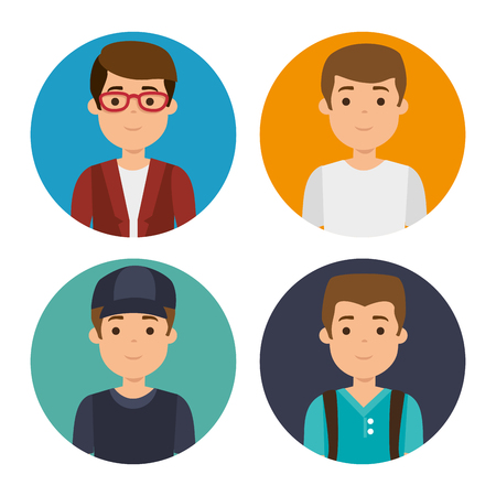 set of millennial young people vector illustration graphic design