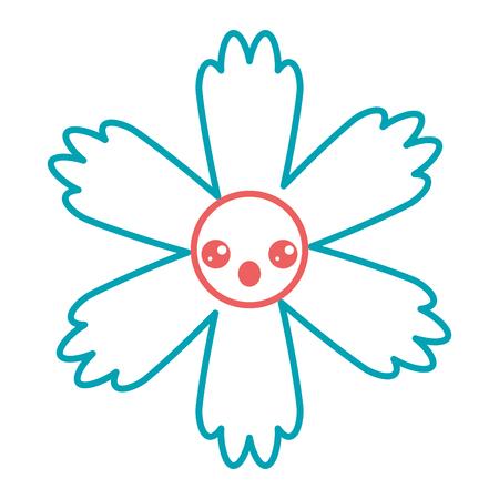 可愛い青い花可愛い漫画ベクトルイラストカラーラインデザイン  イラスト・ベクター素材
