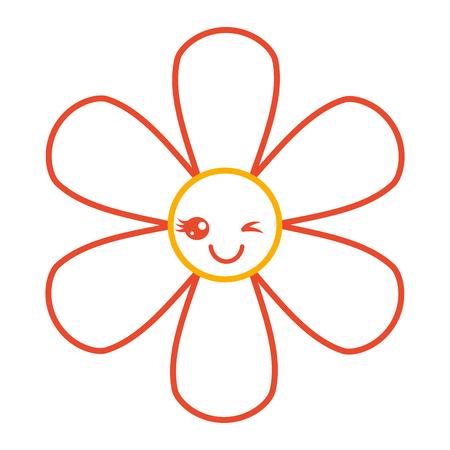 Oranje van de het beeldverhaal botanisch pictogram van bloemkawaii vector de rassenbarrièreontwerp Stock Illustratie