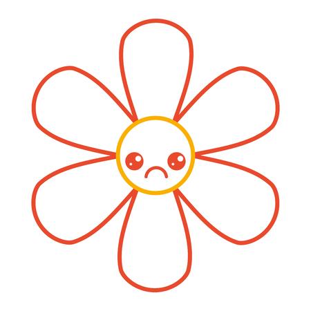 Orange flower kawaii cartoon botanical icon vector illustration color line design