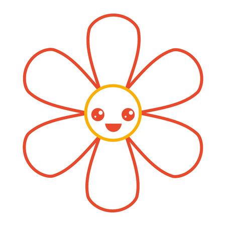 오렌지 꽃 kawaii 만화 식물 아이콘 벡터 일러스트 컬러 라인 디자인 일러스트