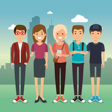Group of millennials generation young people vector illustration graphic design.