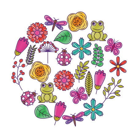 set of spring theme nature flowers love birds butterflies ladybugs frog dragonfly vector illustration drawing design Illustration