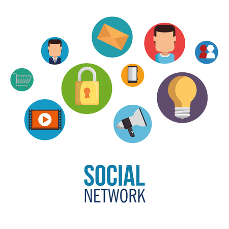 social network concept communication device vector illustration graphic design Illustration